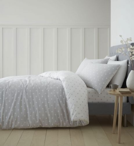 Catherine Lansfield Dotty Brushed Cotton Grey Bedding Set